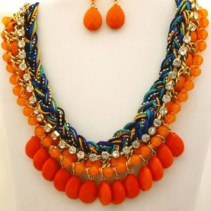 Orange Resin Necklace and Earrings in Gold